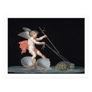 Cupid being led by Tortoises (oil on panel) Postcard