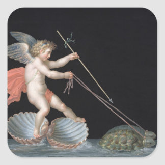 Cupid being led by Tortoises (oil on panel) Square Sticker