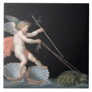 Cupid being led by Tortoises (oil on panel) Tile