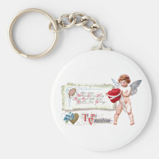 Cupid Binding Hearts As One Vintage Valentine Basic Round Button Key Ring