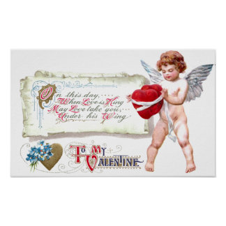 Cupid Binding Hearts As One Vintage Valentine Poster