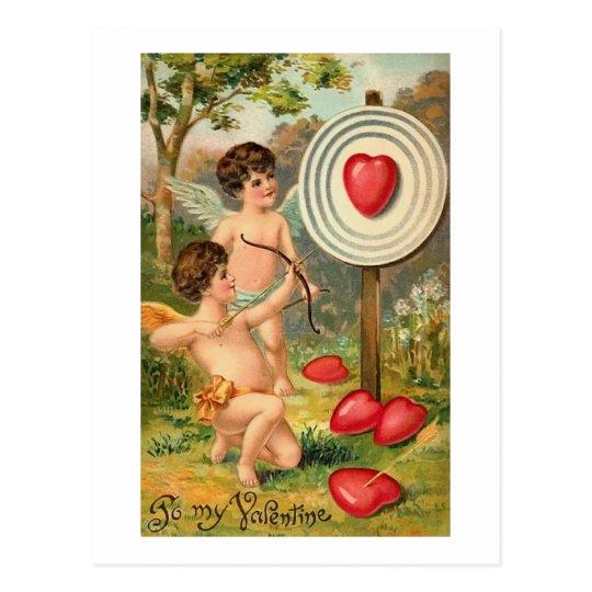 Cupid Bow and Arrow Heart Postcard