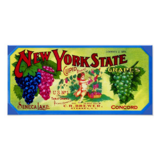 Cupid Brand Grapes Vintage Poster