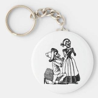 Cupid Calavera, Skeleton Lovers c. 1900s Basic Round Button Key Ring