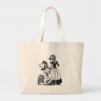 Cupid Calavera, Skeleton Lovers c. 1900s Large Tote Bag