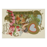 Cupid Cherub Angel Heart Cottage Poster