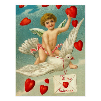 Cupid Delivering Hearts on a Dove Postcard