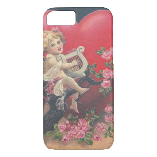 Cupid Harp Heart Pink Roses Rose iPhone 7 Case