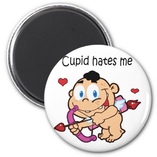 Cupid Hates Me Design 6 Cm Round Magnet