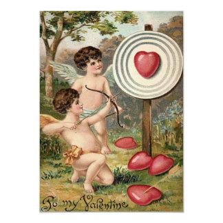 Cupid Heart Bow Arrow Target Wedding Invitation