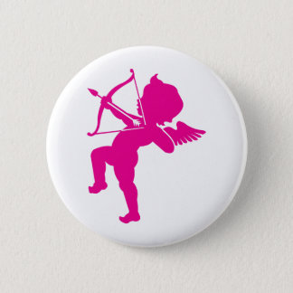 Cupid - Hot Pink Cupid's Bow and Arrow of Love 6 Cm Round Badge