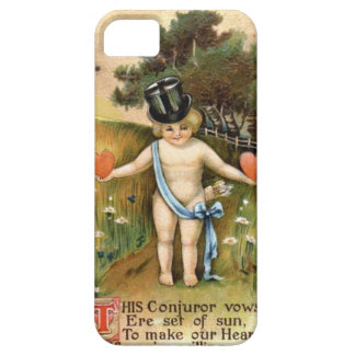Cupid in a Top Hat holding Hearts iPhone 5 Cases