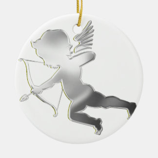 Cupid in silver christmas ornament