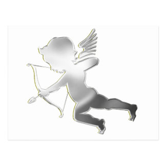 Cupid in silver postcard