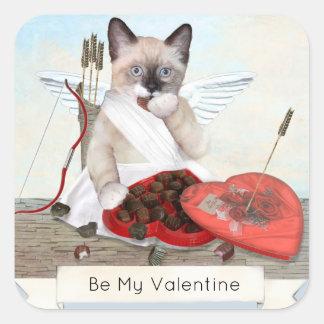 Cupid Kitten Square Stickers