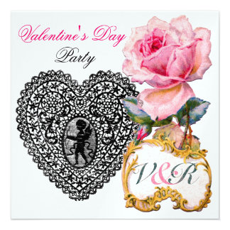 CUPID LACE HEART AND PINK ROSE VALENTINE MONOGRAM PERSONALIZED INVITE