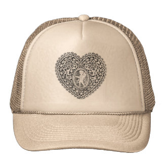 CUPID LACE HEART, Black and White Cap