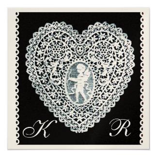 CUPID LACE HEART MONOGRAM champagne metallic paper 13 Cm X 13 Cm Square Invitation Card
