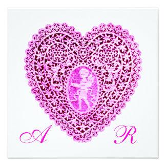 CUPID LACE HEART MONOGRAM, pink fuchsia 13 Cm X 13 Cm Square Invitation Card