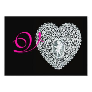CUPID LACE HEART MONOGRAM,pink fuchsia 13 Cm X 18 Cm Invitation Card