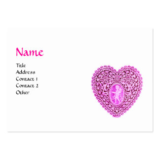 CUPID LACE HEART MONOGRAM ,pink, fuchsia,black Pack Of Chubby Business Cards