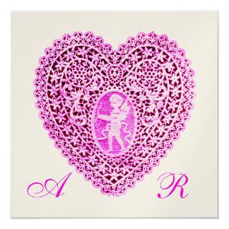 CUPID LACE HEART MONOGRAM, pink fuchsia champagne 13 Cm X 13 Cm Square Invitation Card