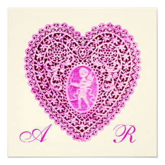 CUPID LACE HEART MONOGRAM, pink fuchsia felt paper 13 Cm X 13 Cm Square Invitation Card
