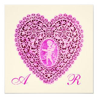 CUPID LACE HEART MONOGRAM, pink fuchsia felt paper Custom Invitation