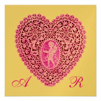 CUPID LACE HEART MONOGRAM pink fuchsia gold Personalized Invitation