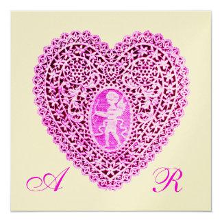 CUPID LACE HEART MONOGRAM, pink fuchsia gold Personalized Invitation