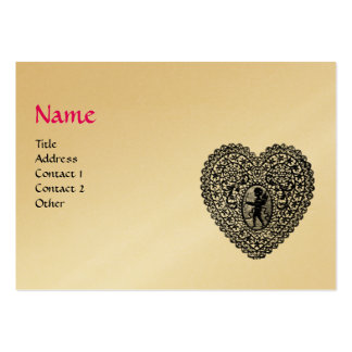 CUPID LACE HEART MONOGRAM ,pink, fuchsia gold Pack Of Chubby Business Cards