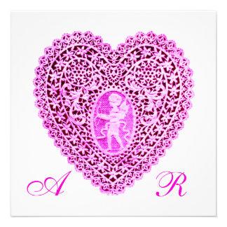 CUPID LACE HEART MONOGRAM pink fuchsia Invitations