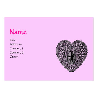 CUPID LACE HEART MONOGRAM ,pink, fuchsia Pack Of Chubby Business Cards