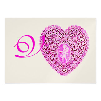 CUPID LACE HEART MONOGRAM, red fuchsia champagne 13 Cm X 18 Cm Invitation Card