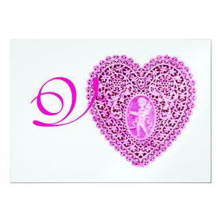 CUPID LACE HEART MONOGRAM, red fuchsia ice 13 Cm X 18 Cm Invitation Card
