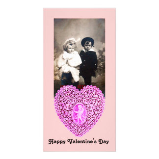 CUPID LACE HEART  , pink Photo Card