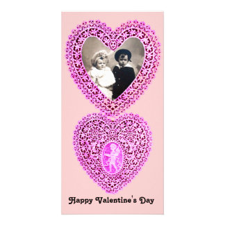 CUPID LACE HEART  , pink Photo Cards
