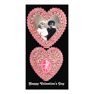 CUPID LACE HEART  , pink red  black Picture Card