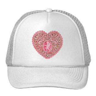 CUPID LACE HEART , Pink Red Cap