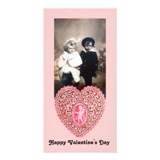 CUPID LACE HEART  , pink red Photo Card Template
