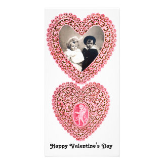 CUPID LACE HEART  , pink red white Customised Photo Card