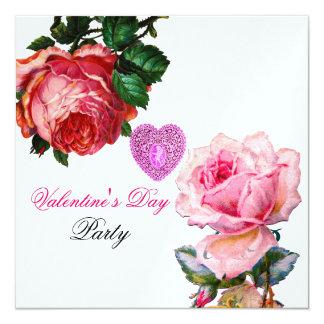 CUPID LACE HEART,PINK ROSES VALENTINE MONOGRAM 13 CM X 13 CM SQUARE INVITATION CARD