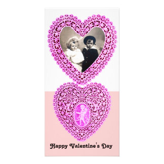 CUPID LACE HEART  , Pink White Customized Photo Card