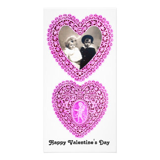 CUPID LACE HEART  , Pink White Personalised Photo Card