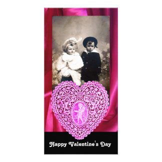 CUPID LACE HEART SILK FUCHSIA CLOTH , pink black Personalised Photo Card