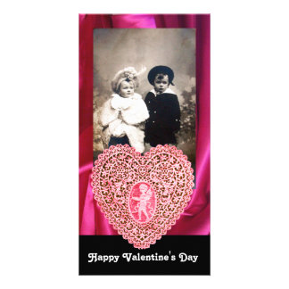 CUPID LACE HEART SILK FUCHSIA CLOTH , pink black Personalized Photo Card