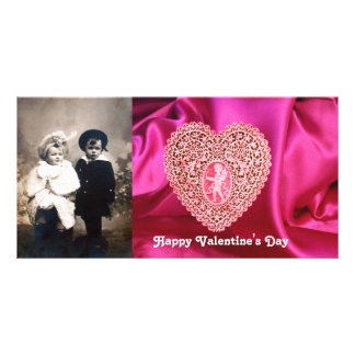 CUPID LACE HEART SILK FUCHSIA CLOTH , Pink Red Personalized Photo Card