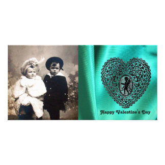 CUPID LACE HEART SILK GREEN BLUE CLOTH, Black Personalised Photo Card
