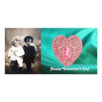 CUPID LACE HEART SILK GREEN BLUE CLOTH, Pink Red Personalized Photo Card