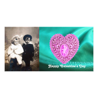 CUPID LACE HEART SILK GREEN BLUE CLOTH,Pink Violet Photo Cards